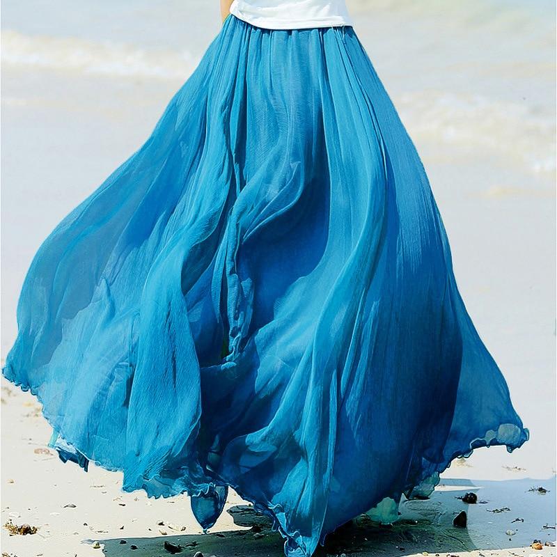 Sherhure 19 High Waist Women Chiffon Long Skirts Floor Length Ruffles White Summer Boho Maxi Skirt Saia Longa Faldas 16