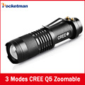Mini Led Flashlight Brand CREE Q5 2000 Lumens 14500 ZOOMABLE LED Flashlight Torch black Fit For AA Or 14500 Battery