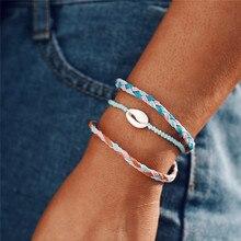 цена на Trendy Sun Shell Shape Multi Braided Rope Bracelet Unique Blue Color Resin Bead Rope Bracelets For Women Wedding Gift