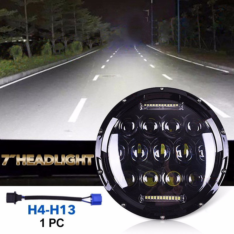 1x 75W 7'' Led Headlight H4 H13 High Low Beam Round Cars Running Lights for Jeep Lada Niva 4x4 подвеска для скейтборда 1шт ruckus trkrk2026 low silver red 4 75 19 1 см