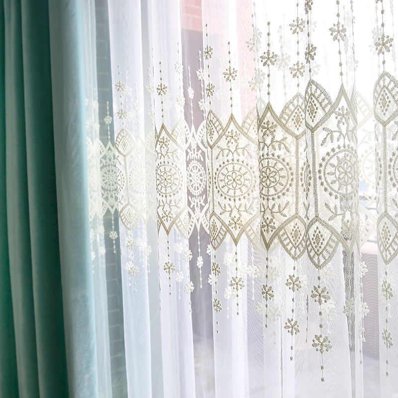 Tiyana البيج سجادة مزركشة شير الستار لوحات المطبخ الفوال الستائر الستارة ل شرفة التطريز أشكال عرض النوافذ P022D3