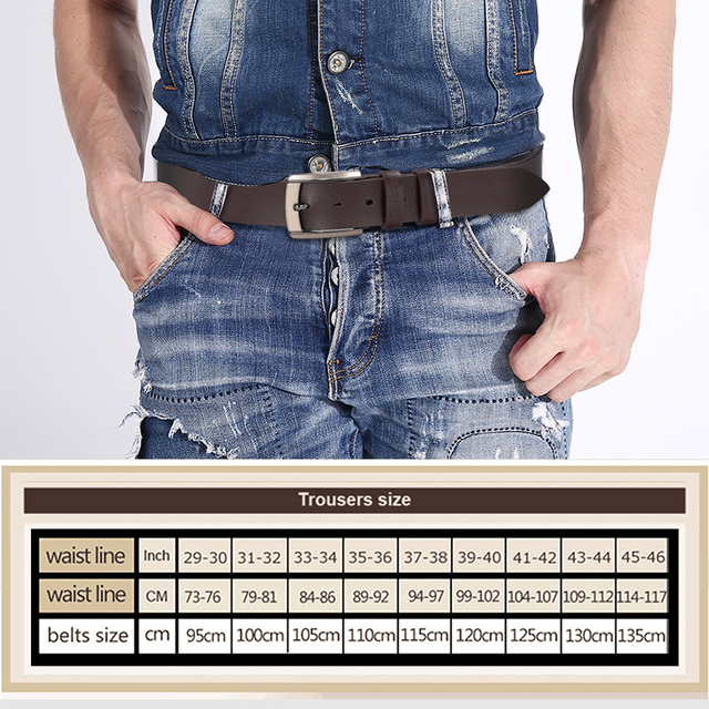 genuine leather belt luxury designer men cowskin fashion Strap Jeans for cowboy free shipping 5