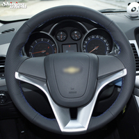 Hand Stitched Black Leather Car Steering Wheel Cover For Chevrolet Cruze Aveo