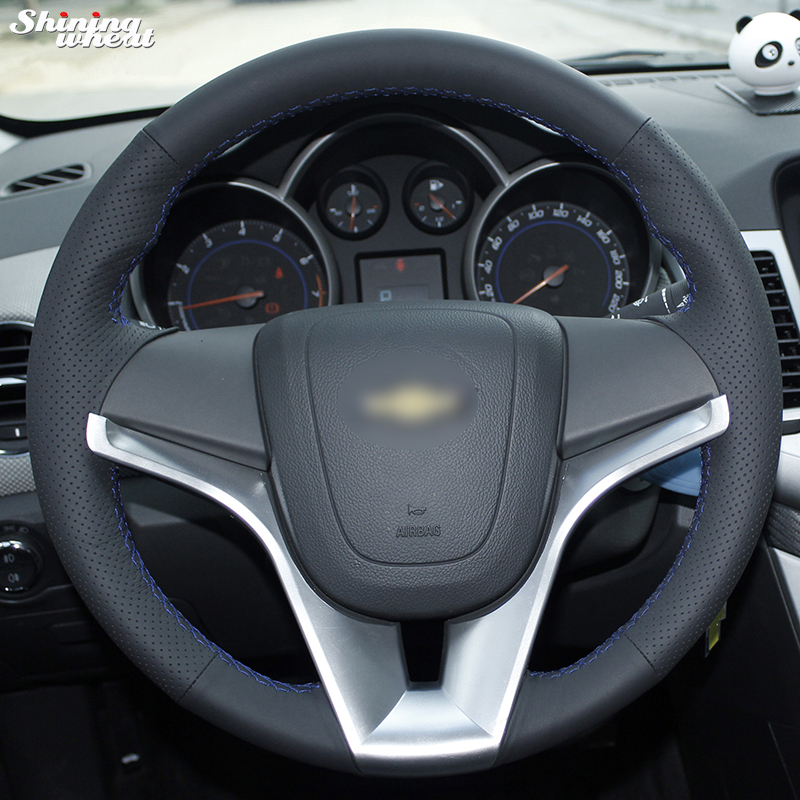 Shining wheat Hand stitched Black Leather Car Steering Wheel Cover for Chevrolet Cruze Aveo