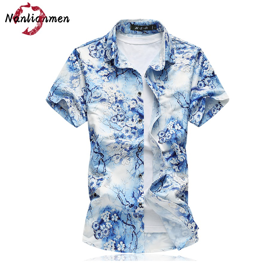2017 summer floral shirt men camisa social masculina slim for Mens slim hawaiian shirt