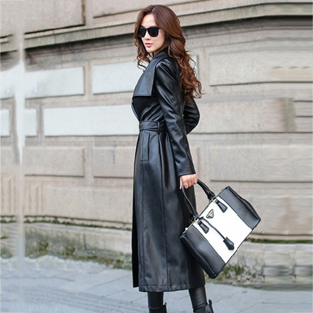 2019 Spring Autumn New Women Leather Trench Black Female Leather Coat High Street Sashes Long Leather Clothing Plus Size NW1146