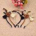 Cosplay Hair Accessories Handmade Knit Deer Headband Hair Clip Handmade Wool Knit Wrapped Deer Elk Antler Ears Narrow Headband
