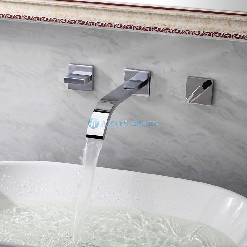 Modern Gold Waterfall Bathroom Sink Faucet Widespread Wall Mount Mixer Tap
