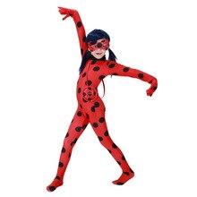 Купить с кэшбэком Ladybug Cosplay Costumes Girls Jumpsuits Halloween Christmas Fancy Party Dress Costume Kids Disfraz Lady Bug Cosplay Marinette