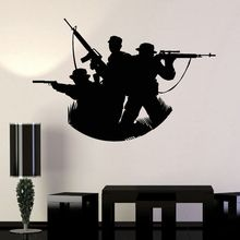Vinyl Wall Decal Soldiers Silhouette Sticker Military Art Home Decoration Accessaries War Mural AY1033