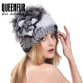 QUEENFUR Winter Warm Genuine Knitted Rex Rabbit Fur Hats With Silver Fox Fur Flower Stripe Women Beanies Female Fashion Cap