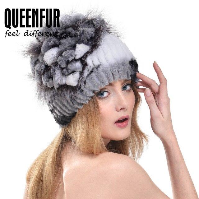 QUEENFUR Winter Warm Genuine Knitted Rex Rabbit Fur Hats With Silver Fox Fur Flower Stripe Women Beanies Female Fashion Cap