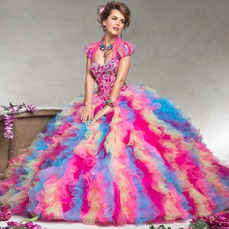 2015-2Stunning-Amazing-Colorful-Rainbow-Ball-Gown-Quinceanera-Dresses-with-Jacket-Vestidos-de-15-anos-Girl