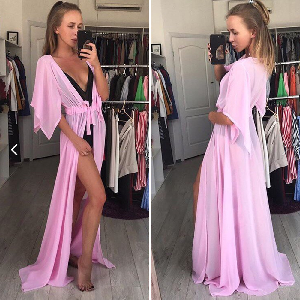 Beach Cover up Solid long Bikini Cover up Tunic for Beach Swimsuit cover up 17
