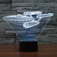 Hot NEW 7color Changing 3D Bulbing Light Star Trek Illusion LED Lamp Creative Action Figure Toy