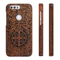 Huawei Honor 8 Case Hard Full Protective Wood Wooden Carved Back Cover Honor8 Cases For Huawei