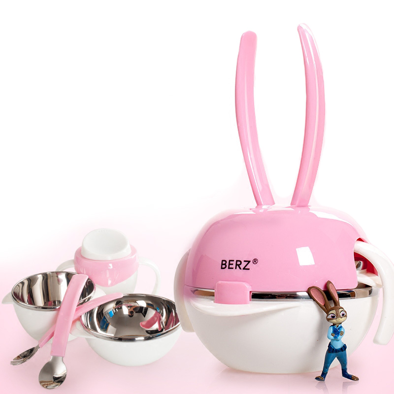 BERZ Baby Learning Dishes Assist Food Bowl Spoon cup Portable Baby Tableware Stainless Steel Rabbit Bowl cup cute Dinnerware new children tableware bpa free plastic baby food set kids dinnerware plate bowl cup fork spoon infant dishes for toddlers baby