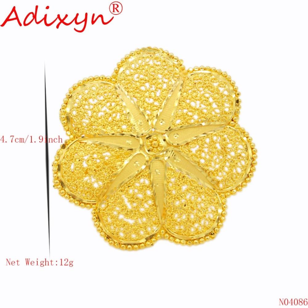 Adixyn mode largeur bague en or pour femmes couleur or inde bandes de mariage anneau accessoires de fête N04086 - 2
