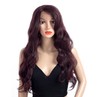 ELEGANT MUSES Women Long Body Wave Cosplay Synthetic Lace Front Wigs Heat Resistant Fiber Hair For Women African American