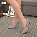 Spring and Autumn women's singles pointed high-heeled patent leather shoes with thin black suede shoes female nightclub