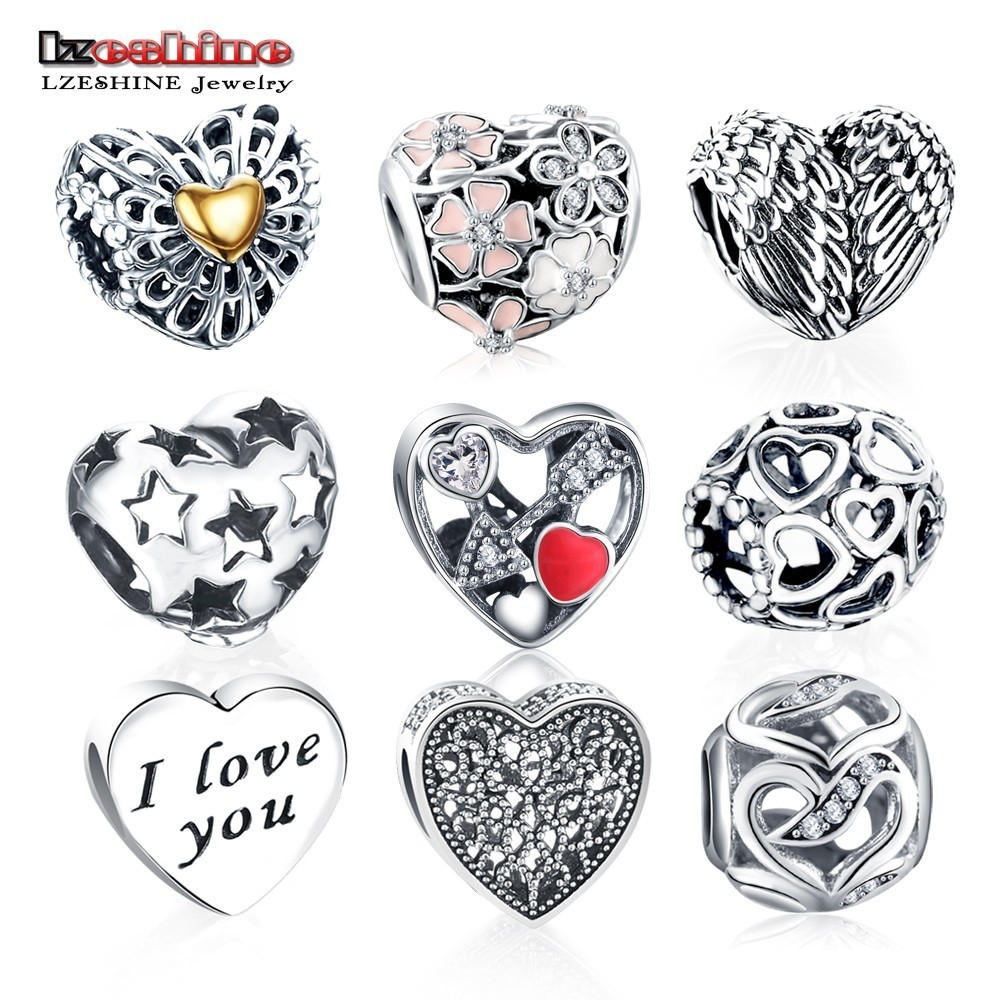 LZESHINE Cheap Jewelry Copper Love Heart Shape Charm Beads Fit Original Pandora Charm Bracelets & Bangle DIY Jewelry Accessories
