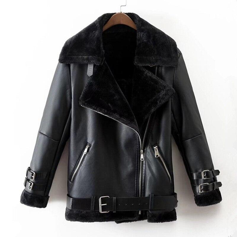 Зима 2018 натуральная кожа куртка женская черная панк куртка-бомбер женская одежда из натуральной овечьей шерсти меховой воротник зимнее пал...