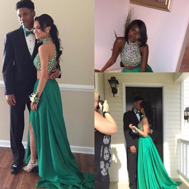 Vestido De Festa Sparkly Sexy Chiffon Beads Two Piece Emerald Green Long  High Neck Backless 2 Piece Prom Dresses 2015 d7321875cfe8