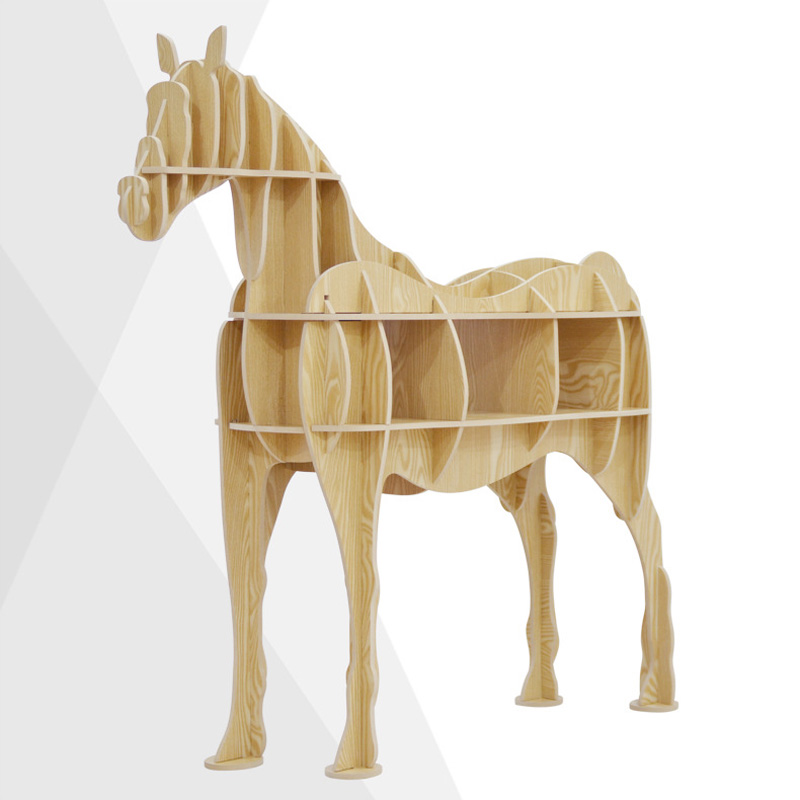 Horse Display Bookshelf Wooden Furniture Home Storage Stand Wood Puzzle for Office Living Room Bar Walnut Black White Ash Color horse display bookshelf wooden furniture