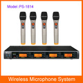 DHL/FEDEX/EMS Shipping P-Sound PS-1814 Professional Wireless UHF Microphone System 4 Microphone Transmitters+LCD Receivers