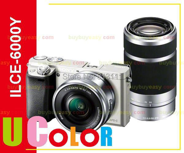 Sony ILCE-6000 A6000 A6000Y 24.3MP Digital Camera Body + 16-50mm + 55-210mm Lens SILVER sony alpha ilce 7s body