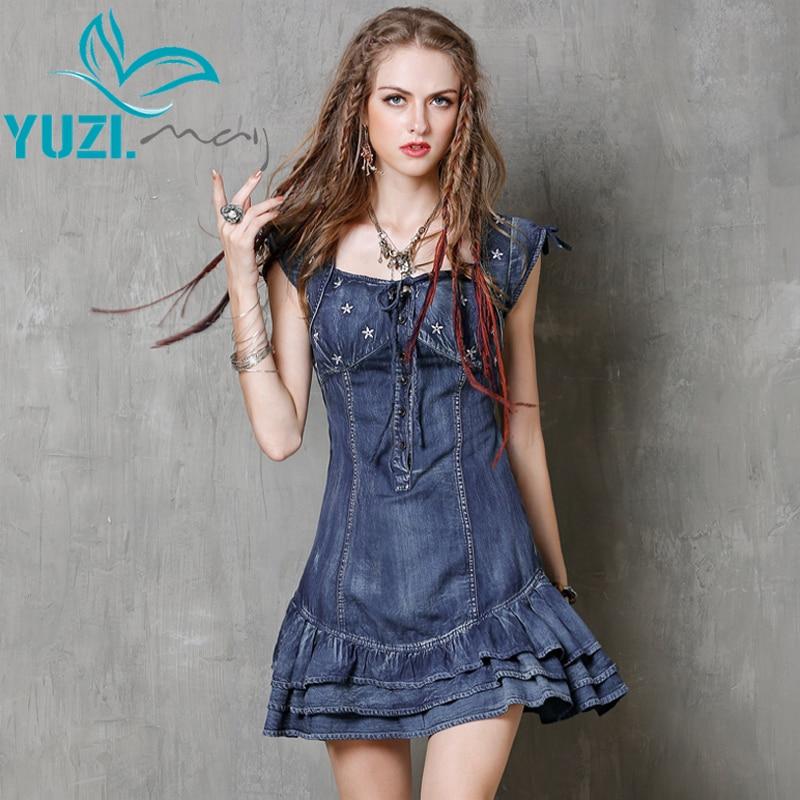 Summer Dress 2017 Yuzi may Vintage New Denim Women Dresses Short Sleeve Ruffles Hem Ball Gown