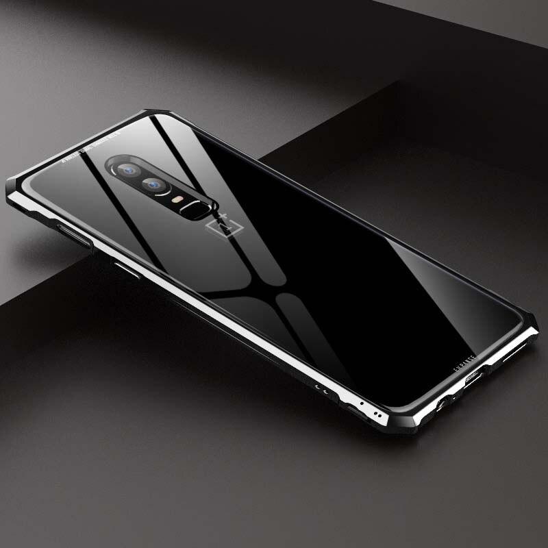 Di lusso Per Un Più di 6 t di Alluminio Del Respingente Del Metallo + Trasparente 9 H Vetro Armatura Caso Della Copertura Posteriore di Caso per Un Più 6 JS0689