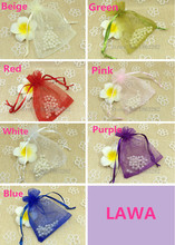 Free shipping 5pc Lowest price 8x10cm 7Colors Mixed Organza bag Wedding Gift Bags  candy jewelry Pouches christmas decoration