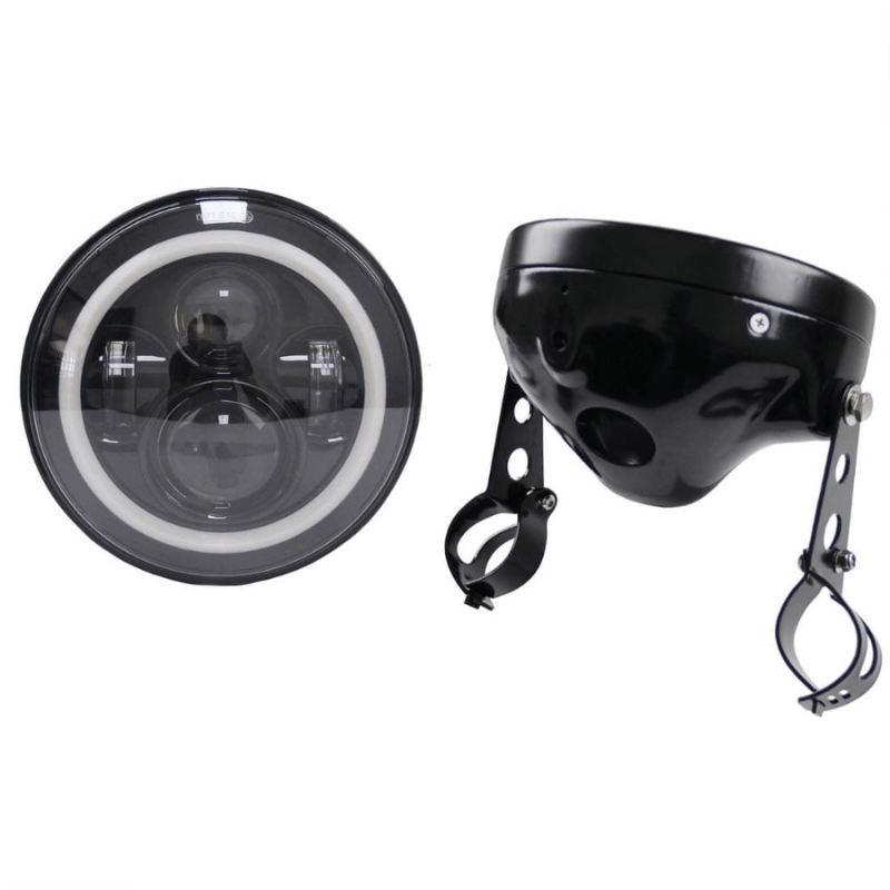 7inch Round LED Headlight with High Low Beam for Harley Sportster XL883 XL1200 and 7 Inch Headlights Housing Bucket