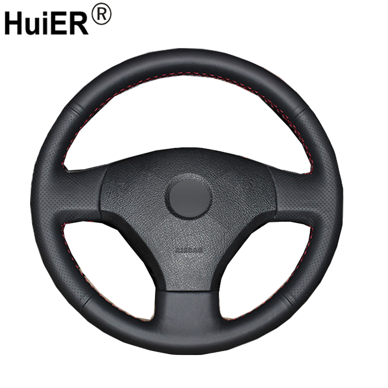 HuiER Hand Sewing Car Steering Wheel Cover Black Leather For Volkswagen VW Jetta 5 2006-2010 Old Jetta Breathable Car Styling