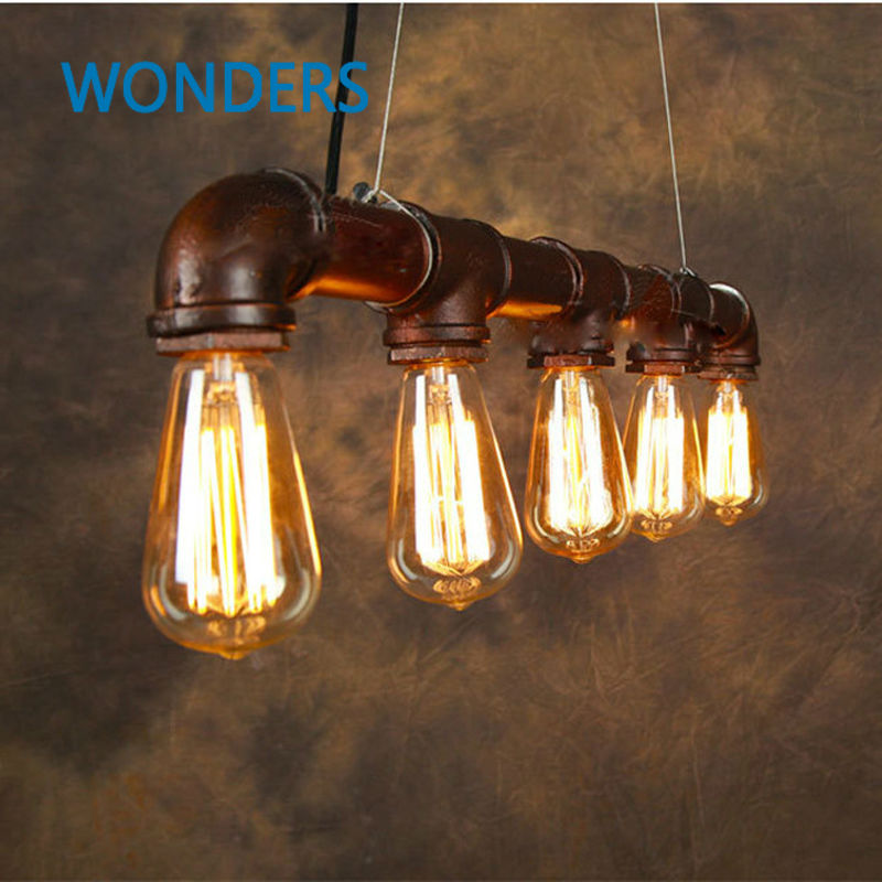 Vintage Pendant Light American Industrial Edison Lamp Water Pipe Style E27*5pcs Art Luminaire Decoration Bar Restaurant Lighting edison loft style vintage light industrial retro pendant lamp light e27 iron restaurant bar counter hanging chandeliers lamp