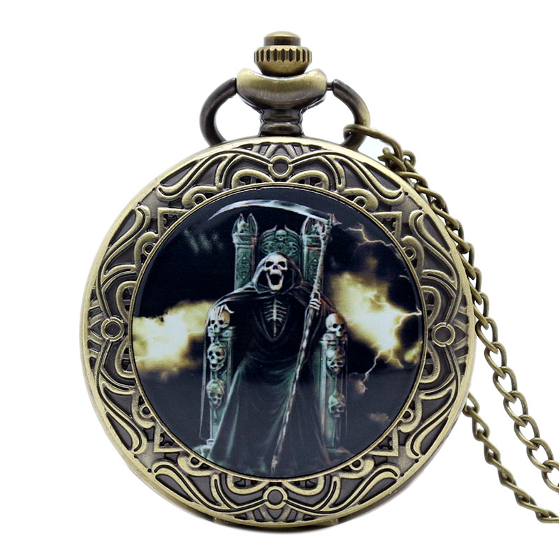 Antique Style Cool Grim Reaper Skull Pendant Necklace Pocket Watch Quartz Steampunk Vintage Bronze Gift For Men Boy