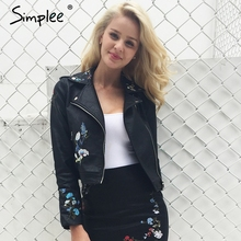 Simplee Embroidery faux leather coat Motorcycle zipper wine red leather jacket women Fashion cool outerwear winter