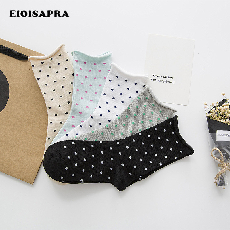 [EIOISAPRA]Dot Socks Korean Edge Meias Cute Sweet Elastic Socks Women Funny Socks Japan  ...
