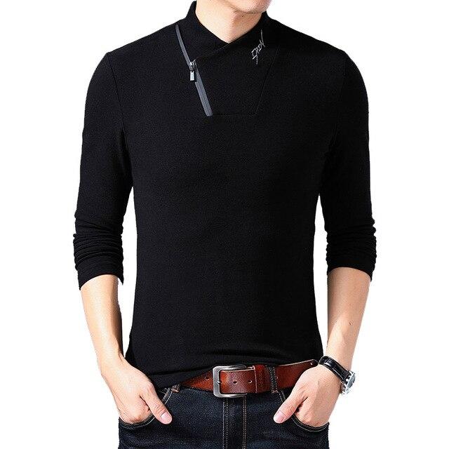 new concept 6de78 0f993 BROWON Marke 2019 Neue Stil Baumwolle herren T shirt Langarm Shirt Männer  Einfarbig Zipper Print Kragen Übergroßen