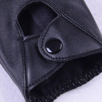 1 pair النساء أزياء بو الجلود الأسود نصف اصبع قفازات كول القلب الجوف أصابع قفازات قفازات الإناث لاستعادة لياقته # 40 5