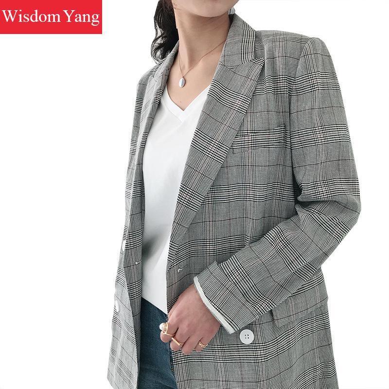 Autumn Elegant Jacket Linen Womens Suit Gray Plaid Coats Warm 2018 Female Jackets Overcoat Cotton Coat Office Ladies Outerwear