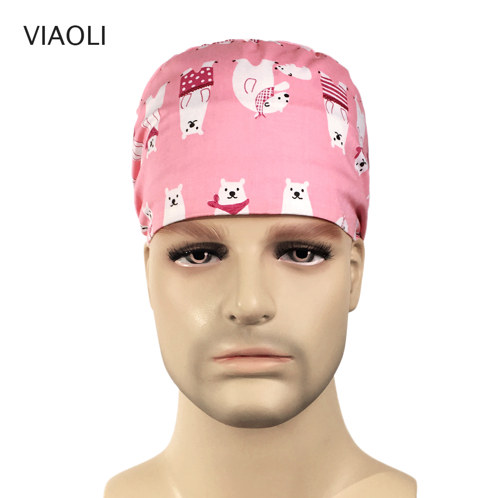 Viaoli Cotton Surgical Caps Scrub Caps For Women And Men Hospital Medical Hat Print Cat In Black Tieback Elastic Section Dentist