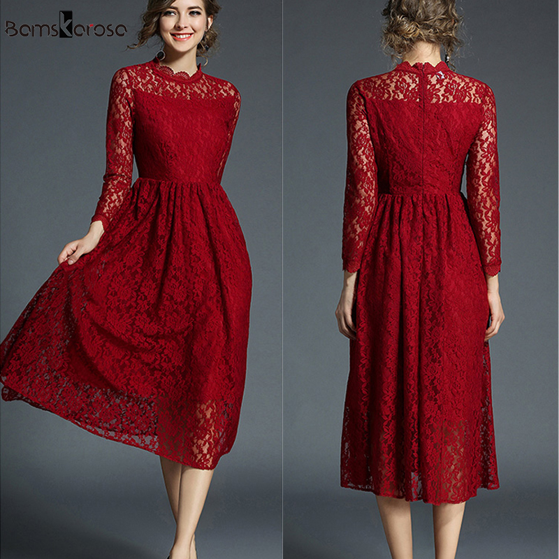 Us 2014 44 Offdresses For Women Red Lace Dress Elegant Evening Party Dresses Sexy Slim Mid Calf Christmas Dress Three Quarter Sleeve Vestidos In