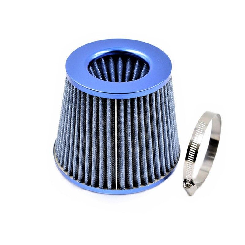 Amable Kit De Inducción Universal Del Filtro De Aire Del Coche Para El Tubo De Admisión 55 Mm A 76 Mm De Malla De Fibra De Carbono Con Forma De Cono Azul Firme En La Estructura