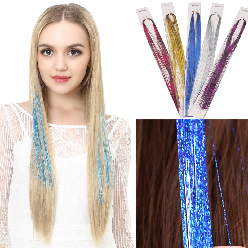 Leeons Hair Green Purple 16inch Sparkel Synthetic Clip In One Piece Hair Bling Rainbow Silk Hair Tinsel Synthetic Hair Extension Synthetic Clip-in One Piece