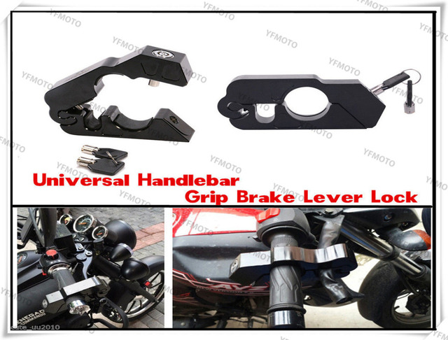 Universal CNC Motorcycle Handlebar Grip Brake Lever Lock Anit Theft Security Caps-Lock For Harley XL883 XL1200  and ATV