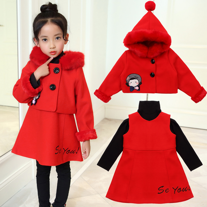 High Quality 3pcs Baby Girls Clothes Set Fashion Children Autumn Winter Jackets Hooded Coat+dress+shirt suit Kids Warm Coat D134 стоимость