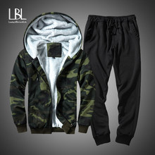 Winter Camouflage Fleece Hoodies Men 2018 Casual Hooded Warm Sweatshirts Male Thicken Tracksuit Jacket+Pant Moleton Masculino(China)