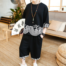 loldeal Chinese style Men summer suit personalized printing knit T-shirt + pants